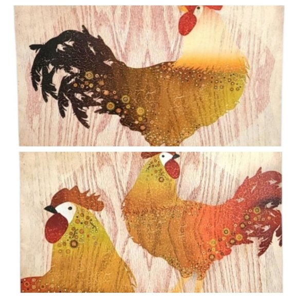 Rooster and Hens wall decor 2 mounted canvas piece